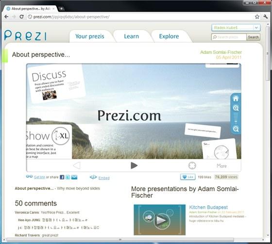 V online aplikaci Prezi rozmisťujete prvky prezentaci na souvislé pracovní ploše, výsledný efekt je velmi poutavý