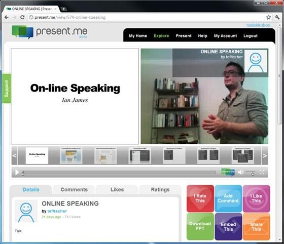 Na stránkách služby Present.me můžete ke svým prezentacím nahrávat komentář pomocí webové kamery