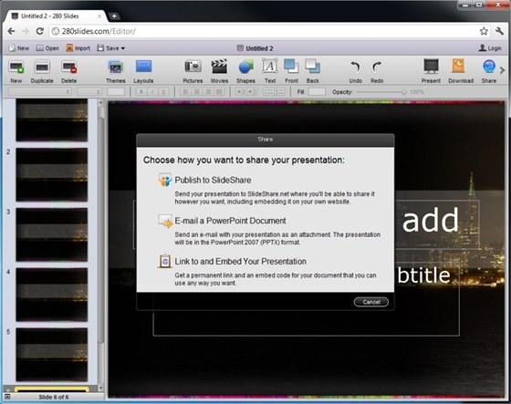 Přehledná internetová aplikace 280 Slides nabízí funkce nezbytné pro vytváření základních prezentací a jejich sdílení
