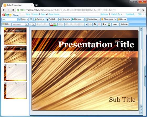 Mezi volně použitelnými online aplikacemi ZOHO najdeme i nástroj na vytváření prezentací ZOHO Show