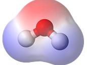 """Rozložení náboje u molekuly vody (červeně - , modře +). Hodnota elektrického dipólového momentu tyto nerovnoměrnosti popisuje jako vektor: tedy úsečku, jejíž velikost a orientace jsou """"součtem"""" jednotlivých nerovnoměrností."""