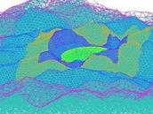 Trojrozměrné zobrazení antény FAST v reliéefu krajiny po dokončení všech prací