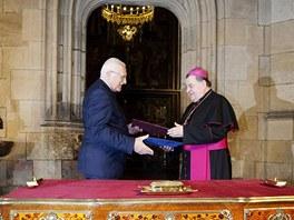 Václav Klaus a Dominik Duka v katedrále sv. Víta