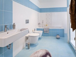 """Modrá"" koupelna v Triplexu (obkladačky série Remix)"