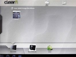 Program pro clear.fi pro vytvoření multimediálního serveru v tabletu Acer Iconia A500