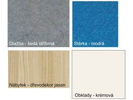 Barevný vzorník dlažby, obkladů, stěrky a nábytku