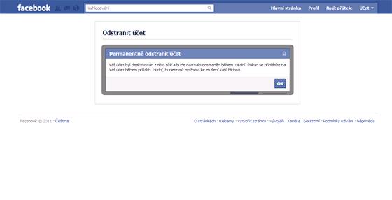 Facebookový účet odstraněn, 14 dní se do něja můžete přihlásit, než se smaže