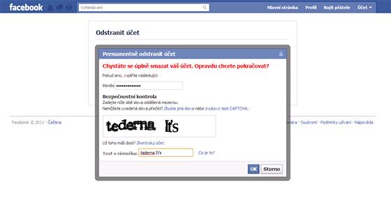 Potvrzení definitivního odstranění - je třeba zadat heslo a CAPTCHA kód