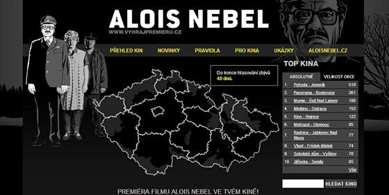 Náhled webových stránek, na kterých můžete vyhrát předpremiéru filmu Alois