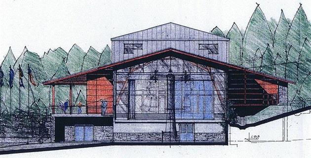Skica nové stanice lanovky na Sn�ce, severovýchodní pohled