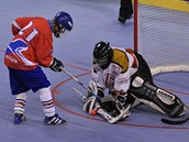 �eské hokejbalistky v utkání MS s Rakouskem.
