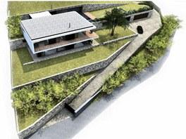 Vizualizace návrhu rodinného domu v Olšinkách u Ústí nad Labem.