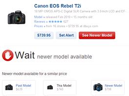 Počkejte, říká decide.com, kupte si raději nový model