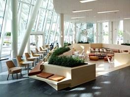 Veškeré hotelové zařízení má oblé, organické formy a je provedeno v přírodních materiálech.