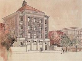 Návrh banky Slavia v Sarajevu. Stavba je dílem českého architekta Jana Kotěry.