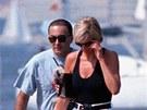 Princezna Diana a jej� p��tel Dodi Al-Fayed v St. Tropez (22. srpna 1997)