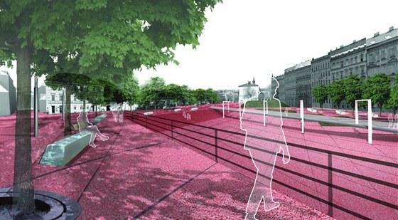 V centrální části by mhol vzniknout amfiteátr - variabilně využitelná plocha.