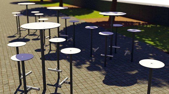 Skupina zvýšených sedáků a stolů Bistrot do veřejného prostoru