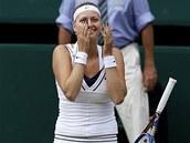 VYHRÁLA JSEM! Petra Kvitová slaví vítězství ve Wimbledonu.