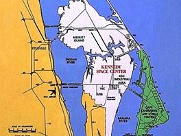 Mapka Kennedyho vesmírného střediska. Vpravo je Mys Canaveral, propojený s ostrovem Merrit