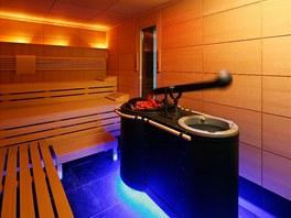 Sauna je vybavena veškerým komfortem.
