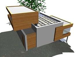Stavba kaskádovitě kopíruje svažitý terén. Nejvyšší část, ložnice, částečně