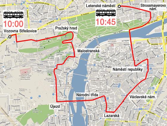Trasa kolony historických tramvají