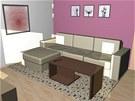 Do obývací části jsme navrhli pohovku - trojsedák a taburet. Jako alternativa