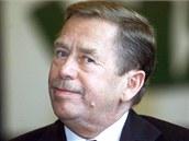 Prezident Václav Havel při oslavě svých pětašedesátých narozenin (5. října 2001)