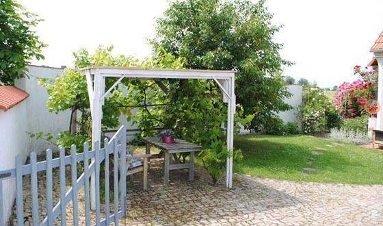Za bránou najdeme pergolu s vinnou révou, sladkovišeň (Hortenzie), v pozadí