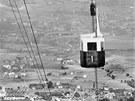 Lanovka na Ještěd. Snímek lanovky ze 30. let 20. století