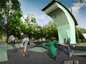Studie skateparku a lezeck� st�ny, kter� vzniknou p�i obnov� parku ve