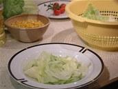 Na dno hlubokého talíře či misky vložte nejprve kousky ledového salátu.