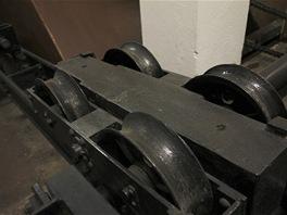 Bezpečnostní systém brzdícího lana. Vagónek na kolejnicích se v případě havárie