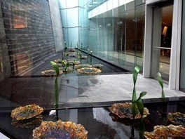Podsvícené skleněné skulptury ve tvaru rozvinutých leknínů vznikly podle