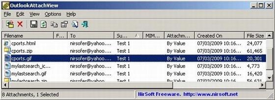 Jednoduchá aplikace OutlookAttachView zobrazí všechny přílohy ve vašich