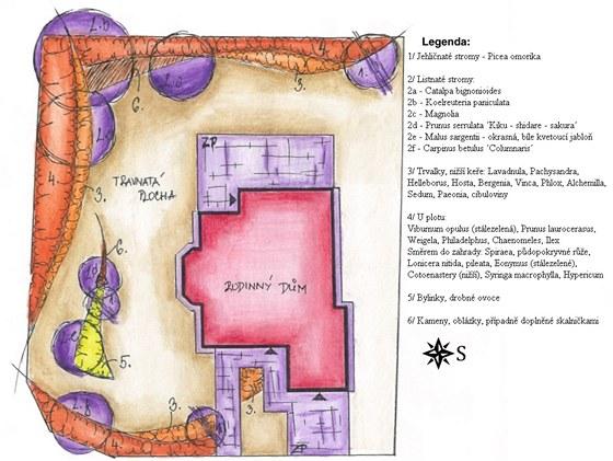 Návrh řešení zahrady s legendou.