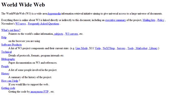 Screenshot první webové stránky, dostupné na http://www.w3.org/