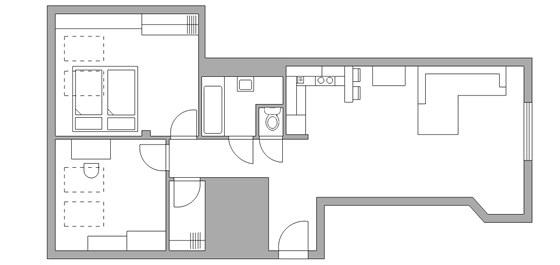 Pl�nek bytu o velikosti 76 metr� �tvere�n�ch