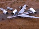 Pohled na rozřezaný Boeing 747. Za jednotlivé části Boeingu dala majitelka v