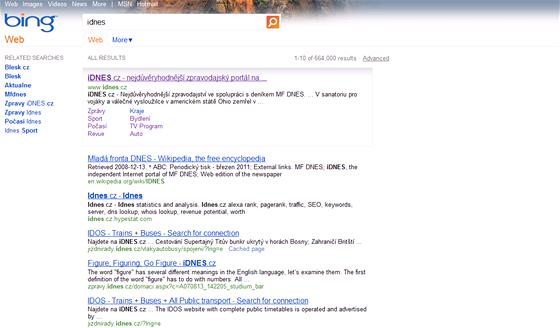 Vyhledávač Bing od společnosti Microsoft také nabízí základní proklik na