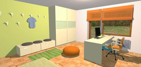 Studentský pokoje je zařízený nadčasově a je laděný do světlých barev.