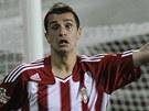 Žižkovský útočník Ilija Nestorovski slaví gól proti Dukle.