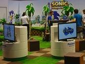 Stánek s ježkem Sonicem na akci Gamescom v německém Kolíně