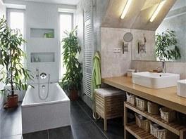 Koupelna v podkroví je osvětlena dvěma vertikálními okny. Atypicky umístěná