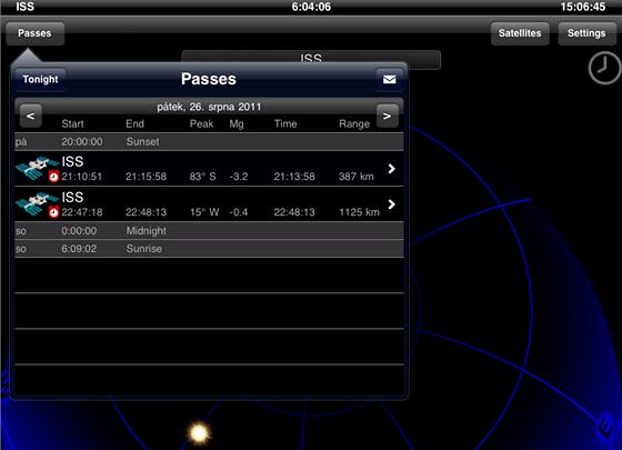 Kudy a kdy poletí ISS v pátek 26.8.2011 (Praha). Výstup z aplikace GoAtlantis