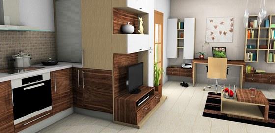 Na kuchyňský kout navazuje obývací sestava s televizí.