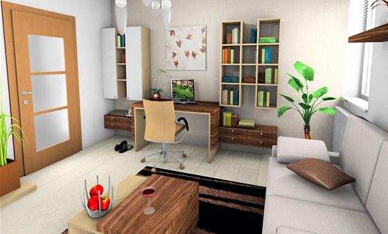Pracovní stůl včetně potřebných úložných prostor je umístěný na stěně za