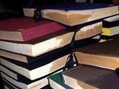 Promočené knihy v Moravskoslezské vědecké knihovně v Ostravě.