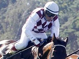 LEGENDA. Žokej Josef Váňa v sedle koně Tiumen závodí ve Velké ceně společnosti